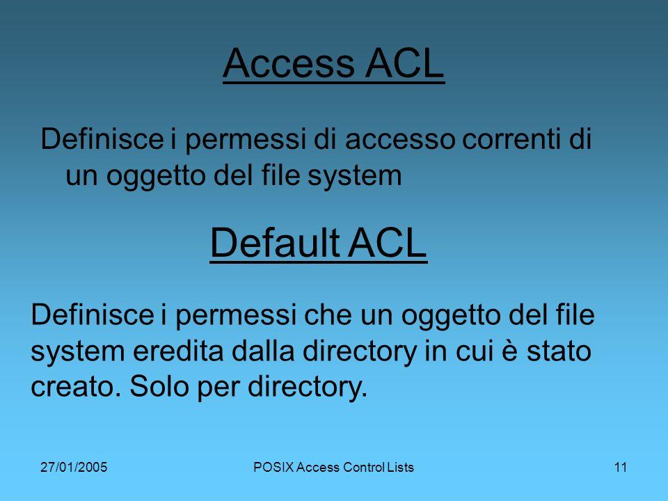 27/01/2005POSIX Access Control Lists11 Access ACL Definisce i permessi di accesso correnti di un oggetto del file system Default ACL Definisce i permessi che un oggetto del file system eredita dalla directory in cui è stato creato.