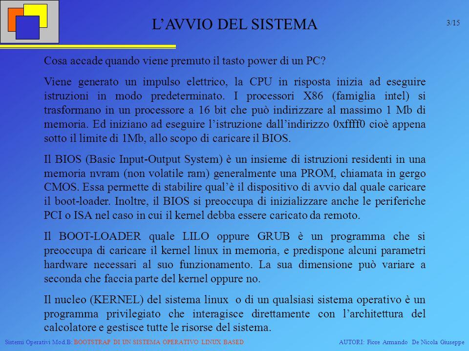 Sistemi Operativi Mod.B: BOOTSTRAP DI UN SISTEMA OPERATIVO LINUX BASEDAUTORI: Fiore Armando De Nicola Giuseppe 0x1000 T0T0 0x7c000 T1T1 T2T2 0x10000 T3T3 0x90000 0x100000 T4T4 T6T6 T7T7 T5T5 0x0 Il primo passo sarà quello di descrivere il diagramma; sulle ascisse verrà rappresentato il tempo, mentre sulle ordinate le celle di memoria.
