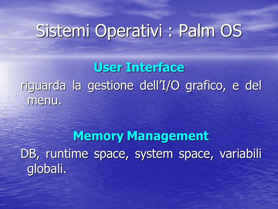 User Interface riguarda la gestione dellI/O grafico, e del menu.