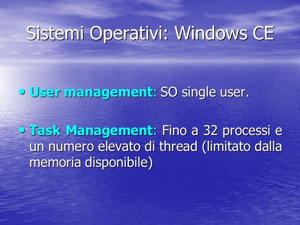 Sistemi Operativi: Windows CE User management: SO single user.