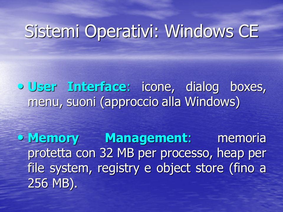 Sistemi Operativi: Windows CE User Interface: icone, dialog boxes, menu, suoni (approccio alla Windows) User Interface: icone, dialog boxes, menu, suoni (approccio alla Windows) Memory Management: memoria protetta con 32 MB per processo, heap per file system, registry e object store (fino a 256 MB).