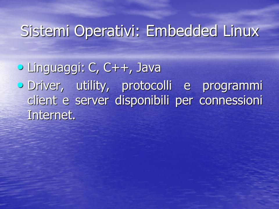 Sistemi Operativi: Embedded Linux Linguaggi: Linguaggi: C, C++, Java Driver, Driver, utility, protocolli e programmi client e server disponibili per connessioni Internet.