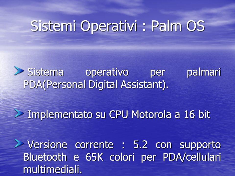 Sistemi Operativi : Palm OS Sistema operativo per palmari PDA(Personal Digital Assistant).