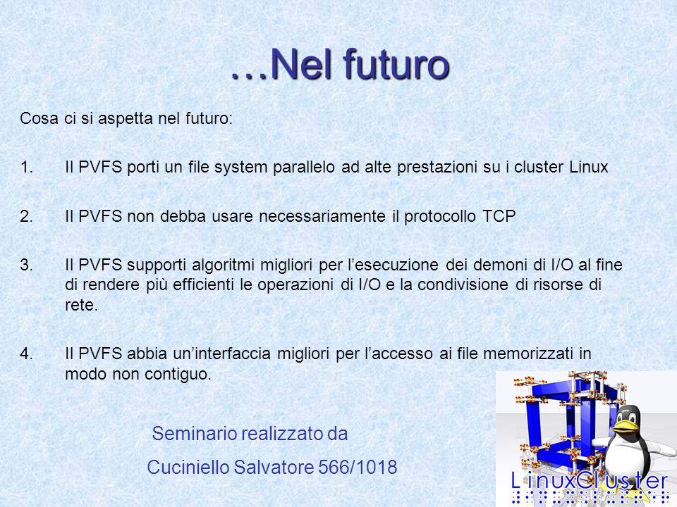 …Nel futuro Cosa ci si aspetta nel futuro: 1.Il PVFS porti un file system parallelo ad alte prestazioni su i cluster Linux 2.Il PVFS non debba usare necessariamente il protocollo TCP 3.Il PVFS supporti algoritmi migliori per lesecuzione dei demoni di I/O al fine di rendere più efficienti le operazioni di I/O e la condivisione di risorse di rete.