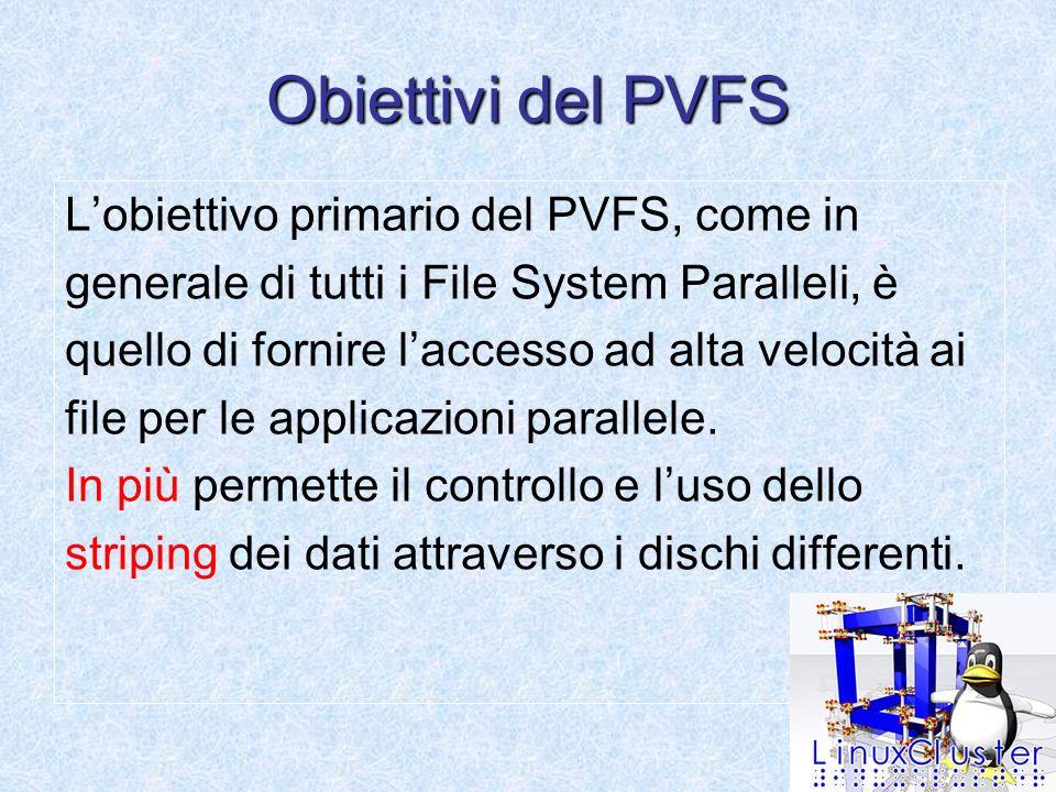 Obiettivi del PVFS Lobiettivo primario del PVFS, come in generale di tutti i File System Paralleli, è quello di fornire laccesso ad alta velocità ai file per le applicazioni parallele.