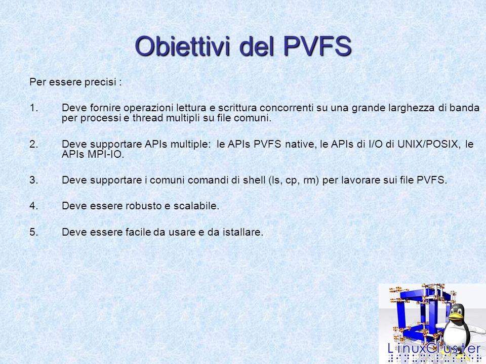 Obiettivi del PVFS Per essere precisi : 1.Deve fornire operazioni lettura e scrittura concorrenti su una grande larghezza di banda per processi e thread multipli su file comuni.