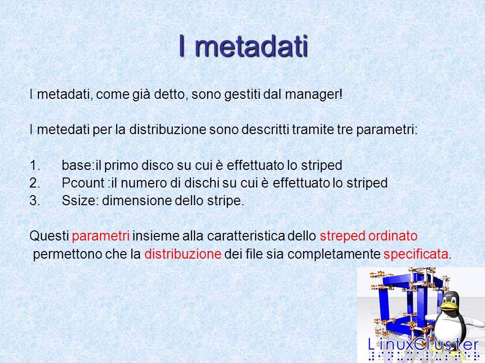 I metadati I metadati, come già detto, sono gestiti dal manager.