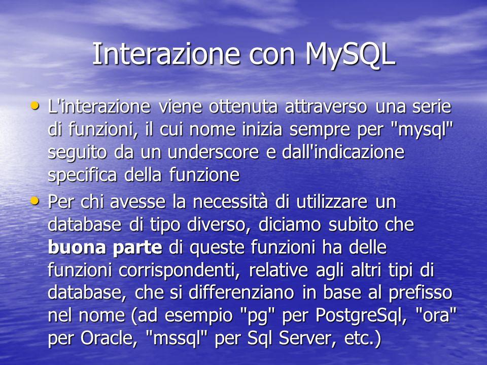 Interazione con MySQL L interazione viene ottenuta attraverso una serie di funzioni, il cui nome inizia sempre per mysql seguito da un underscore e dall indicazione specifica della funzione L interazione viene ottenuta attraverso una serie di funzioni, il cui nome inizia sempre per mysql seguito da un underscore e dall indicazione specifica della funzione Per chi avesse la necessità di utilizzare un database di tipo diverso, diciamo subito che buona parte di queste funzioni ha delle funzioni corrispondenti, relative agli altri tipi di database, che si differenziano in base al prefisso nel nome (ad esempio pg per PostgreSql, ora per Oracle, mssql per Sql Server, etc.) Per chi avesse la necessità di utilizzare un database di tipo diverso, diciamo subito che buona parte di queste funzioni ha delle funzioni corrispondenti, relative agli altri tipi di database, che si differenziano in base al prefisso nel nome (ad esempio pg per PostgreSql, ora per Oracle, mssql per Sql Server, etc.)