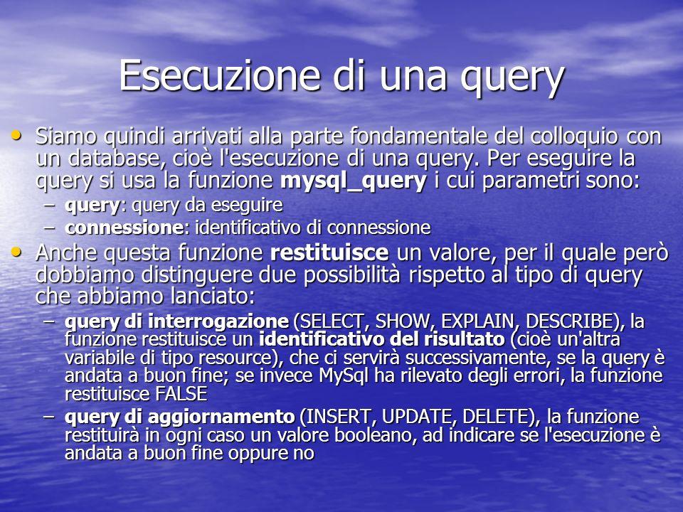 Esecuzione di una query Siamo quindi arrivati alla parte fondamentale del colloquio con un database, cioè l esecuzione di una query.