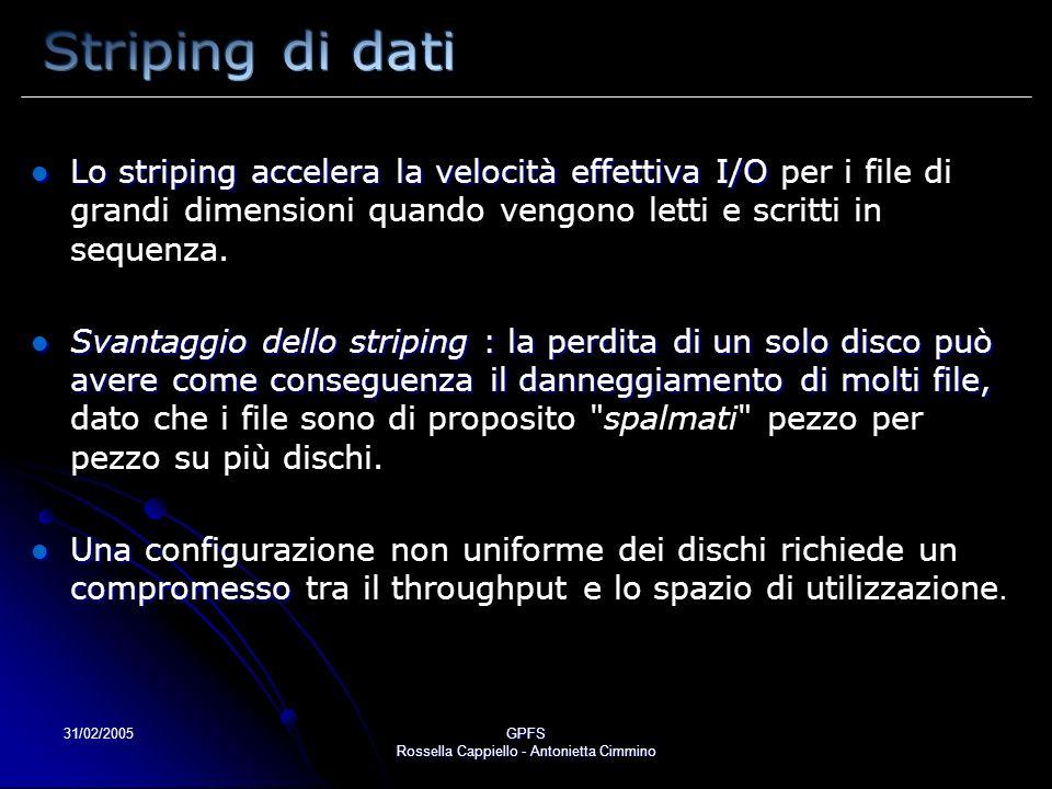 31/02/2005GPFS Rossella Cappiello - Antonietta Cimmino Lo striping accelera la velocità effettiva I/O Lo striping accelera la velocità effettiva I/O per i file di grandi dimensioni quando vengono letti e scritti in sequenza.