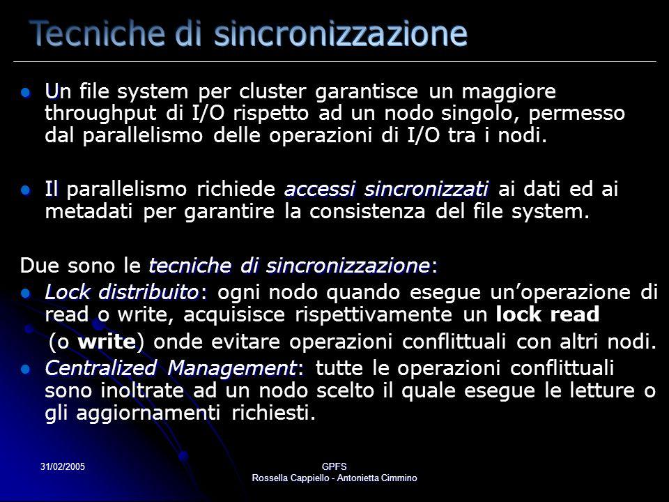31/02/2005GPFS Rossella Cappiello - Antonietta Cimmino U Un file system per cluster garantisce un maggiore throughput di I/O rispetto ad un nodo singo