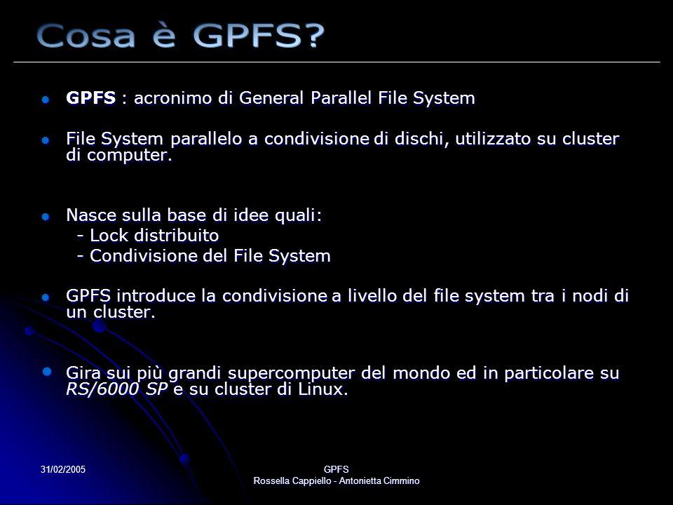 31/02/2005GPFS Rossella Cappiello - Antonietta Cimmino GPFS memorizza file estesi in blocchi di dischi GPFS memorizza file estesi in blocchi di dischi contigui di uguale dimensione ( solitamente 256 kbyte ) Vantaggio: aumento del throughput.