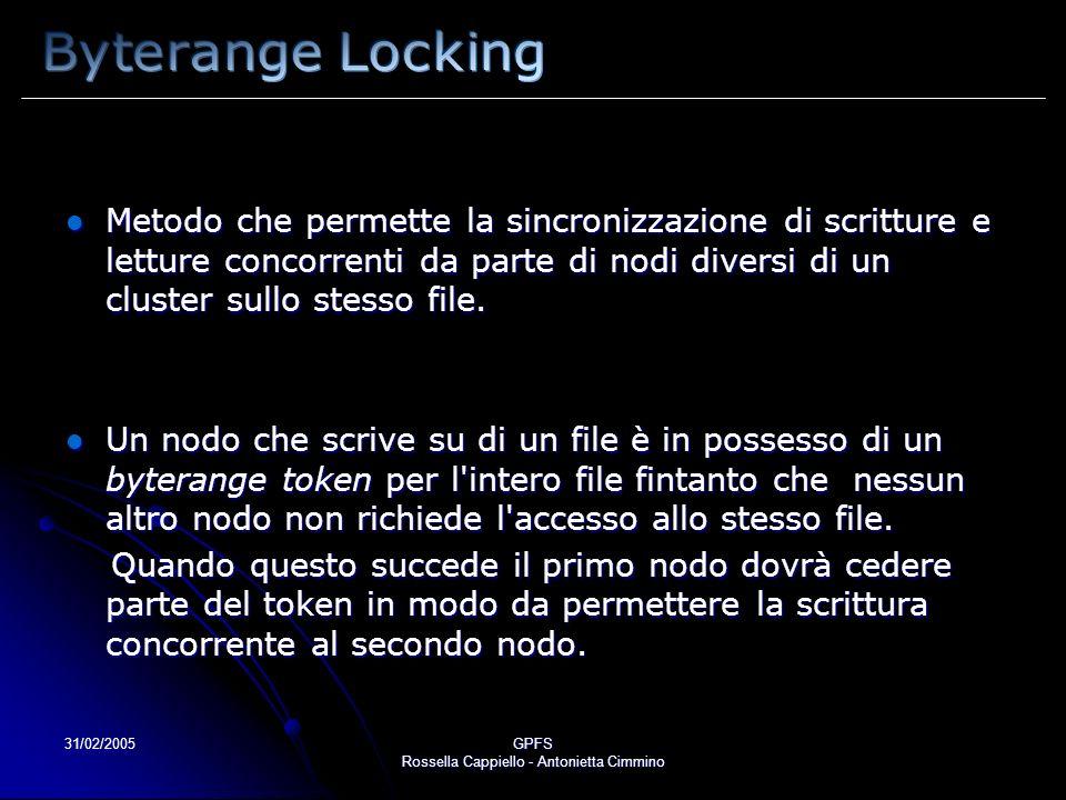 31/02/2005GPFS Rossella Cappiello - Antonietta Cimmino Metodo che permette la sincronizzazione di scritture e letture concorrenti da parte di nodi diversi di un cluster sullo stesso file.