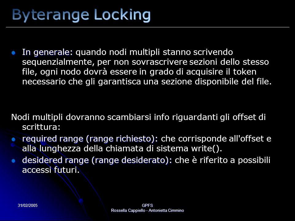 31/02/2005GPFS Rossella Cappiello - Antonietta Cimmino In generale: In generale: quando nodi multipli stanno scrivendo sequenzialmente, per non sovrascrivere sezioni dello stesso file, ogni nodo dovrà essere in grado di acquisire il token necessario che gli garantisca una sezione disponibile del file.