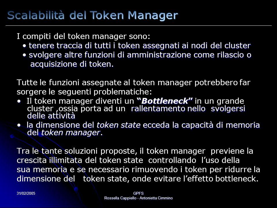 31/02/2005GPFS Rossella Cappiello - Antonietta Cimmino I compiti del token manager sono: tenere traccia di tutti i token assegnati ai nodi del cluster