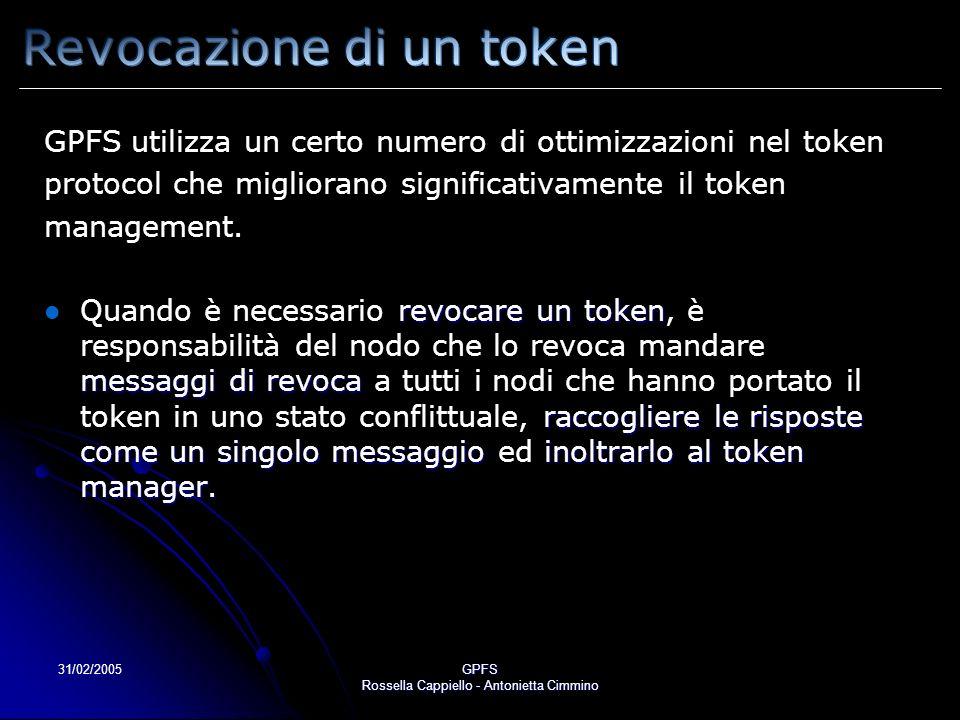 31/02/2005GPFS Rossella Cappiello - Antonietta Cimmino GPFS utilizza un certo numero di ottimizzazioni nel token protocol che migliorano significativamente il token management.