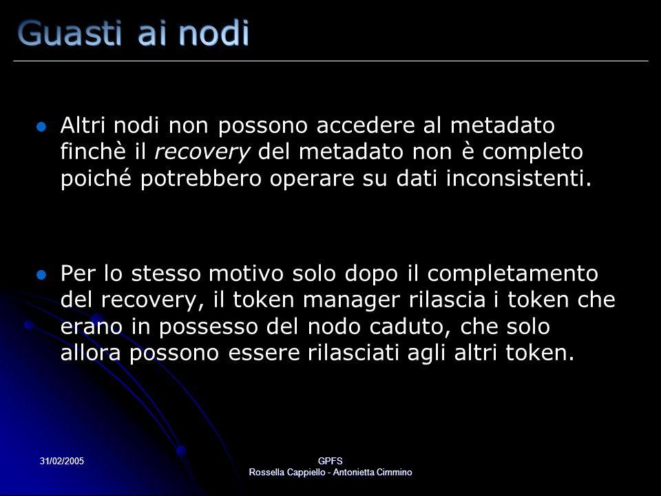 31/02/2005GPFS Rossella Cappiello - Antonietta Cimmino Altri nodi non possono accedere al metadato finchè il recovery del metadato non è completo poiché potrebbero operare su dati inconsistenti.