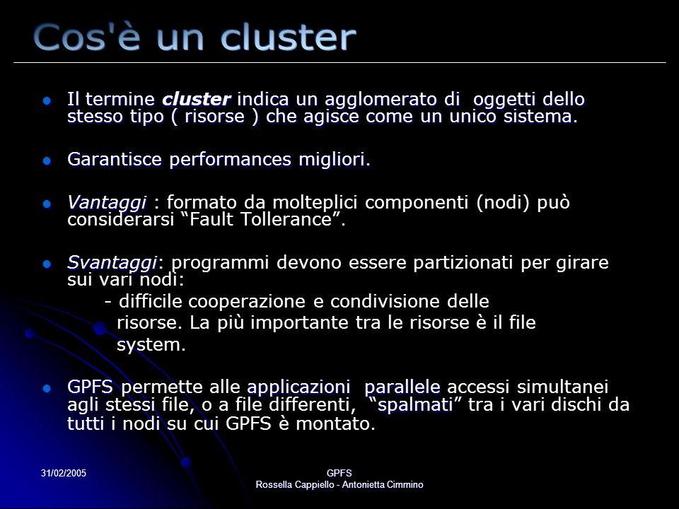 31/02/2005GPFS Rossella Cappiello - Antonietta Cimmino Il termine cluster indica un agglomerato di oggetti dello stesso tipo ( risorse ) che agisce co
