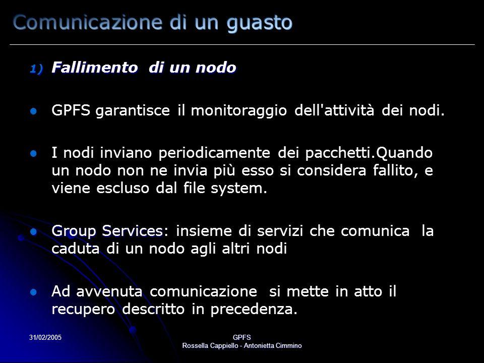 31/02/2005GPFS Rossella Cappiello - Antonietta Cimmino 1) Fallimento di un nodo GPFS garantisce il monitoraggio dell'attività dei nodi. I nodi inviano