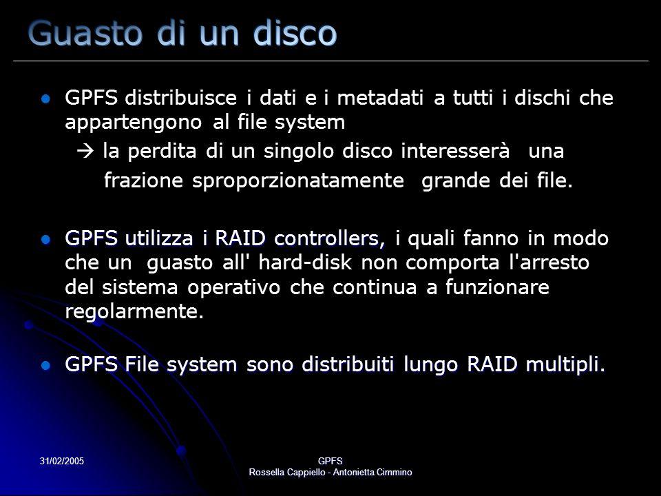 31/02/2005GPFS Rossella Cappiello - Antonietta Cimmino GPFS distribuisce i dati e i metadati a tutti i dischi che appartengono al file system la perdita di un singolo disco interesserà una frazione sproporzionatamente grande dei file.