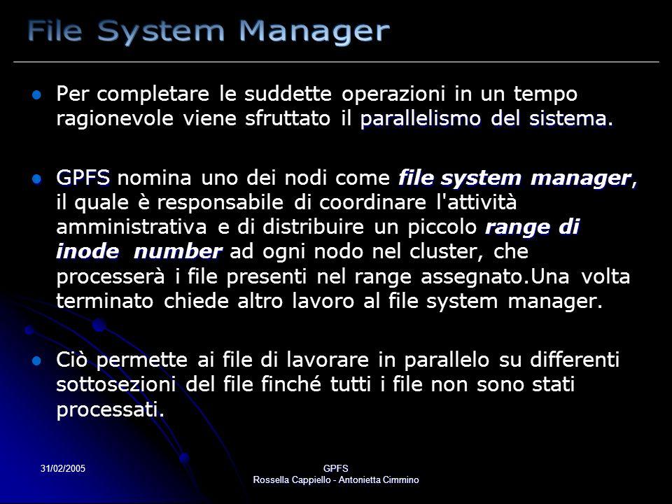 31/02/2005GPFS Rossella Cappiello - Antonietta Cimmino parallelismo del sistema. Per completare le suddette operazioni in un tempo ragionevole viene s