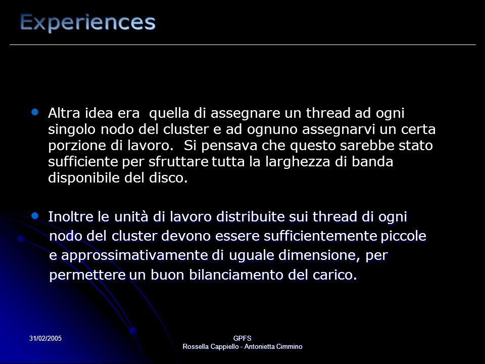 31/02/2005GPFS Rossella Cappiello - Antonietta Cimmino Altra idea era quella di assegnare un thread ad ogni singolo nodo del cluster e ad ognuno asseg
