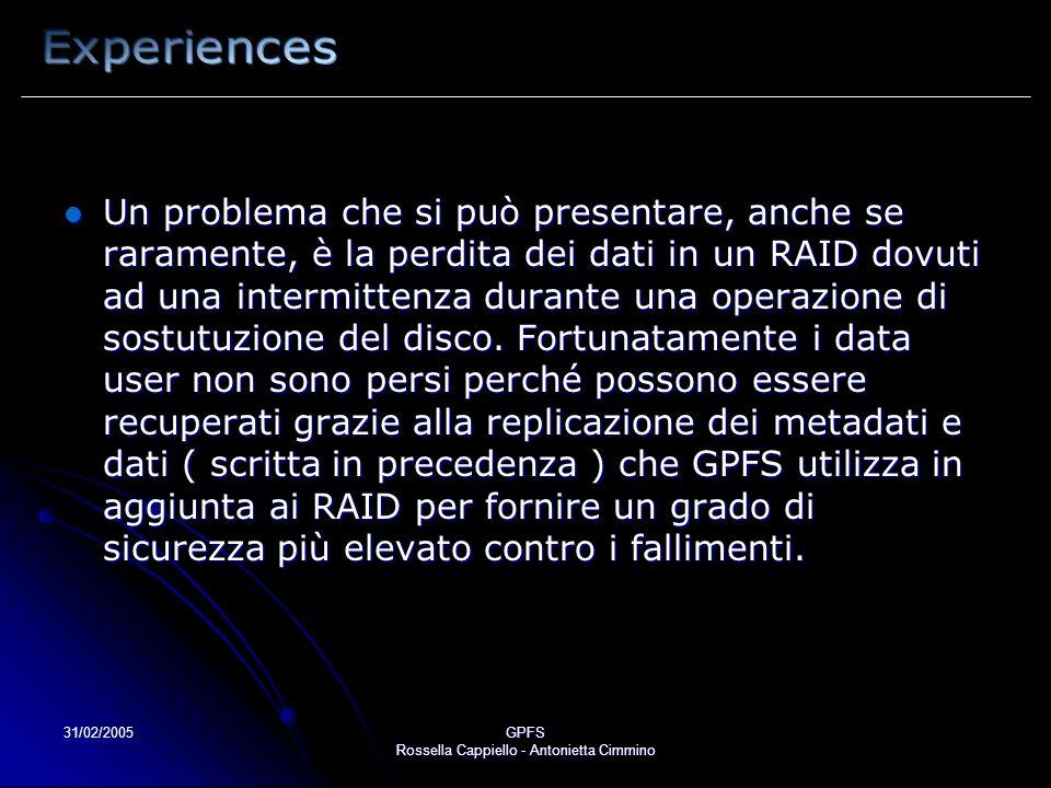 31/02/2005GPFS Rossella Cappiello - Antonietta Cimmino Un problema che si può presentare, anche se raramente, è la perdita dei dati in un RAID dovuti ad una intermittenza durante una operazione di sostutuzione del disco.