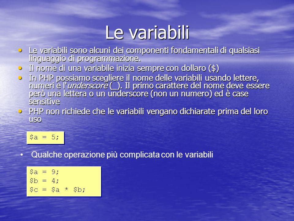 Le variabili Le variabili sono alcuni dei componenti fondamentali di qualsiasi linguaggio di programmazione.