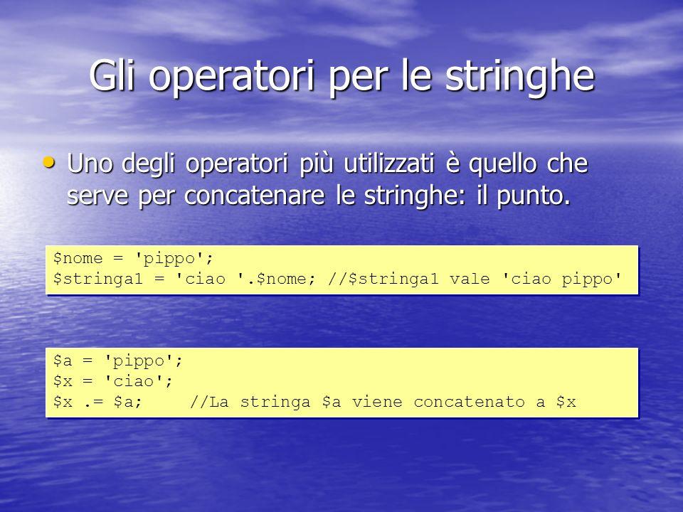 Uno degli operatori più utilizzati è quello che serve per concatenare le stringhe: il punto.