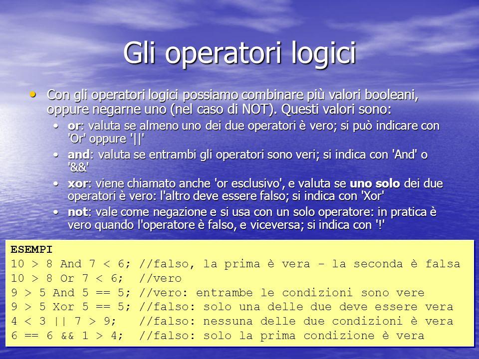 Gli operatori logici Con gli operatori logici possiamo combinare più valori booleani, oppure negarne uno (nel caso di NOT).
