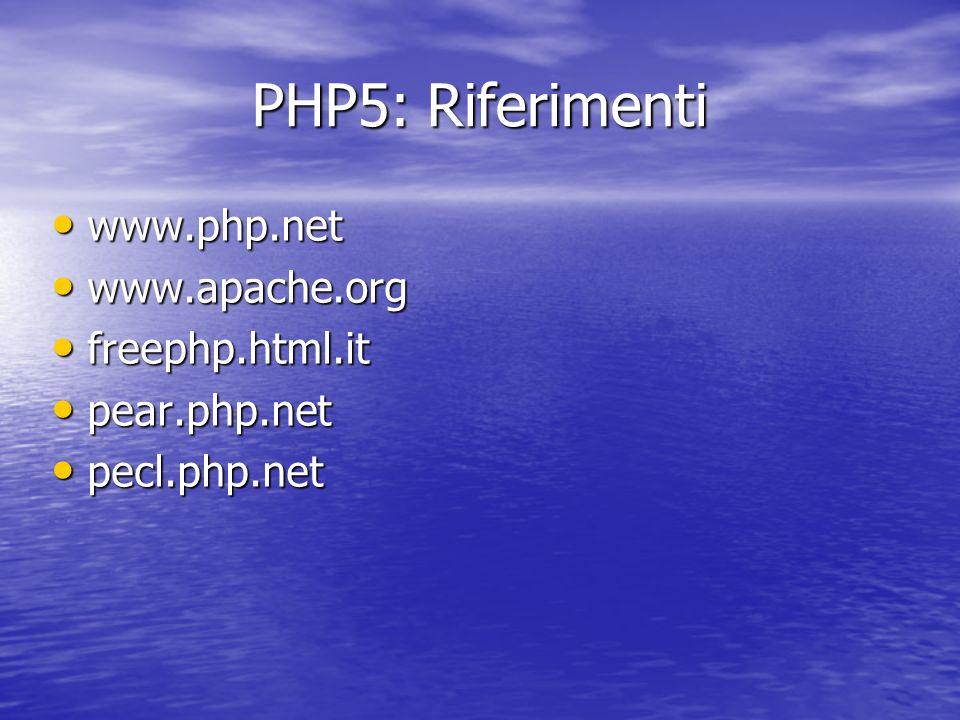 PHP5: Riferimenti www.php.net www.php.net www.apache.org www.apache.org freephp.html.it freephp.html.it pear.php.net pear.php.net pecl.php.net pecl.php.net