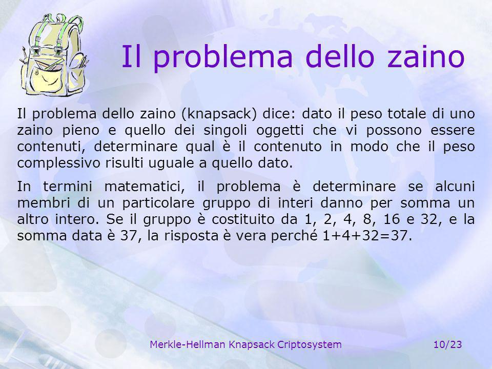 Merkle-Hellman Knapsack Criptosystem10/23 Il problema dello zaino Il problema dello zaino (knapsack) dice: dato il peso totale di uno zaino pieno e qu