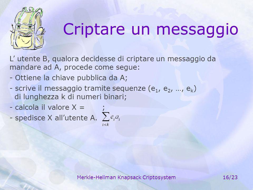 Merkle-Hellman Knapsack Criptosystem16/23 Criptare un messaggio L utente B, qualora decidesse di criptare un messaggio da mandare ad A, procede come s