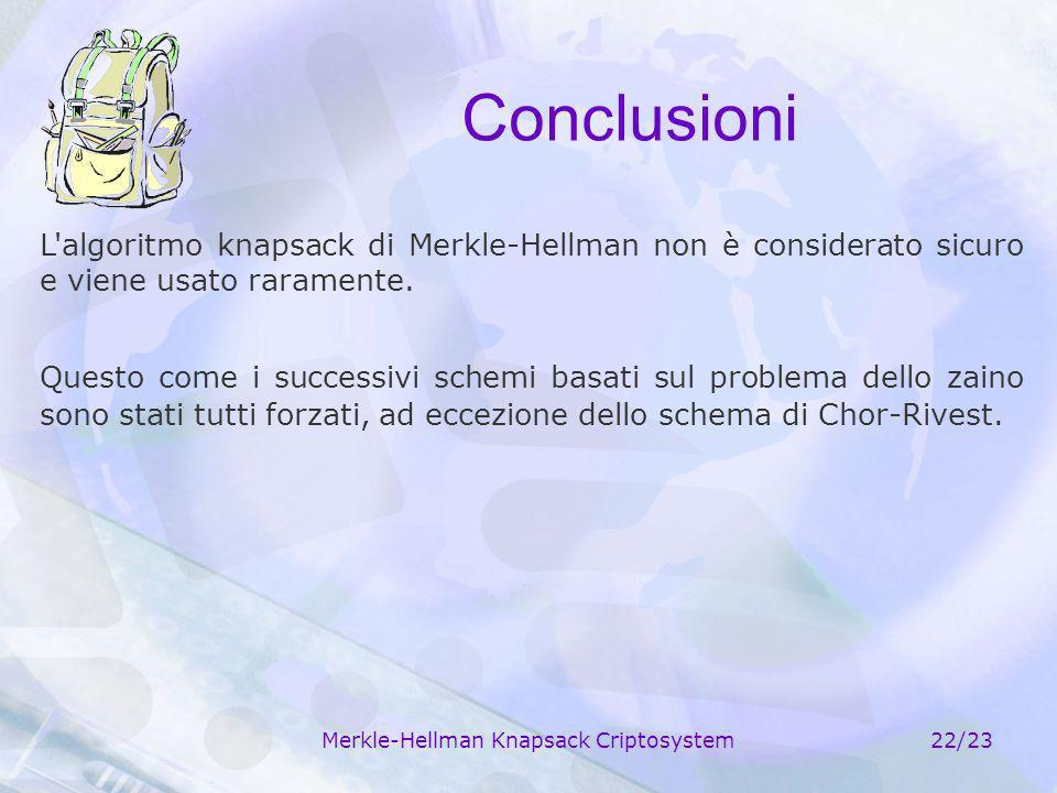 Merkle-Hellman Knapsack Criptosystem22/23 Conclusioni L'algoritmo knapsack di Merkle-Hellman non è considerato sicuro e viene usato raramente. Questo