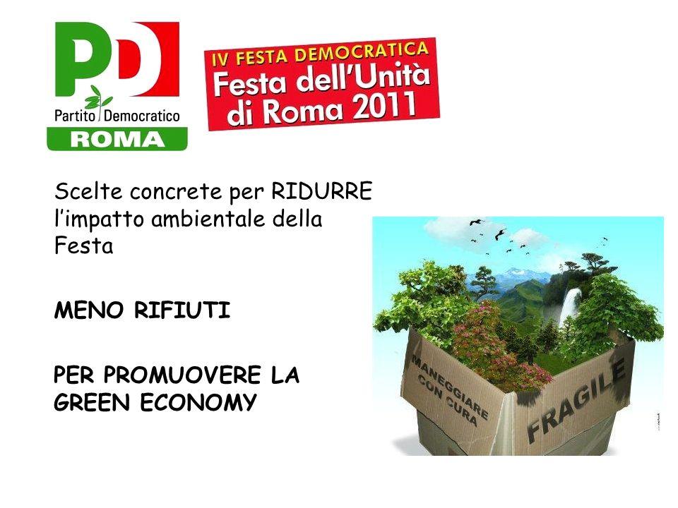 Scelte concrete per RIDURRE limpatto ambientale della Festa MENO RIFIUTI PER PROMUOVERE LA GREEN ECONOMY