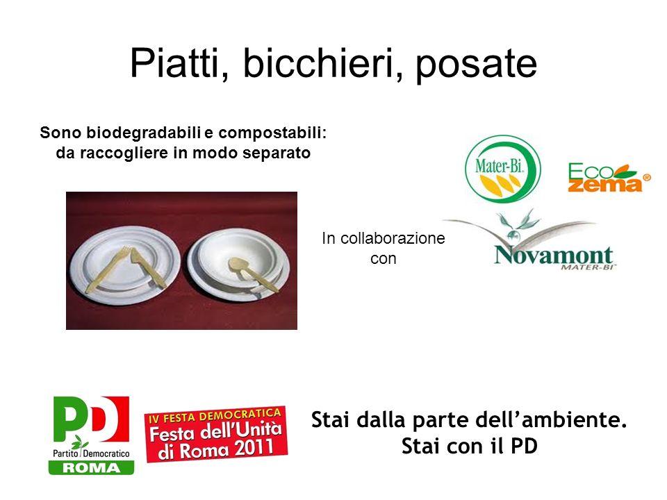 Piatti, bicchieri, posate Stai dalla parte dellambiente. Stai con il PD In collaborazione con Sono biodegradabili e compostabili: da raccogliere in mo