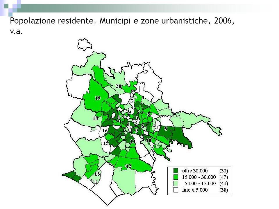 Popolazione residente. Municipi e zone urbanistiche, 2006, v.a.