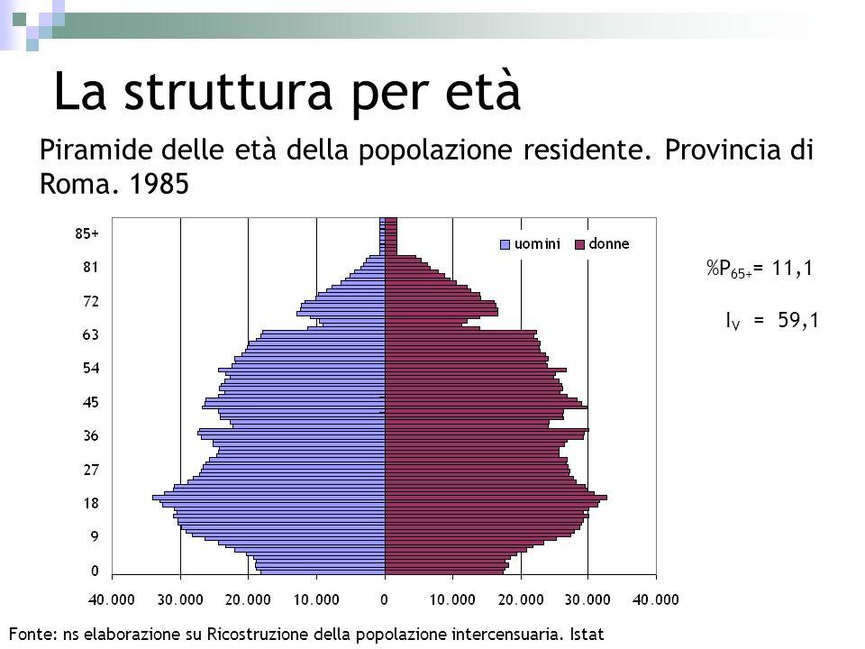 La struttura per età Piramide delle età della popolazione residente. Provincia di Roma. 1985 Fonte: ns elaborazione su Ricostruzione della popolazione