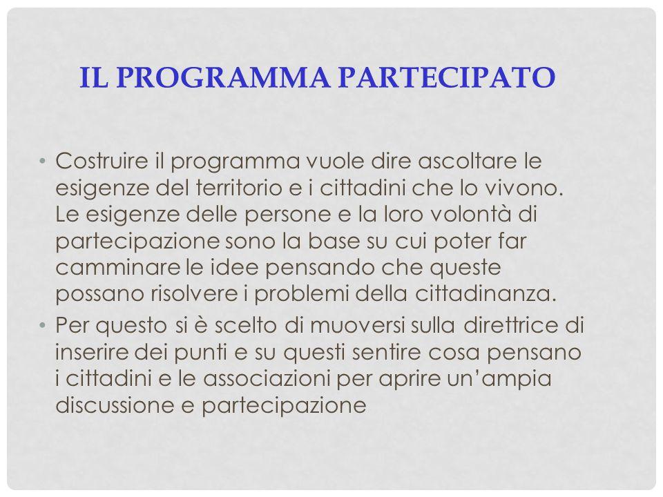 IL PROGRAMMA PARTECIPATO Costruire il programma vuole dire ascoltare le esigenze del territorio e i cittadini che lo vivono. Le esigenze delle persone