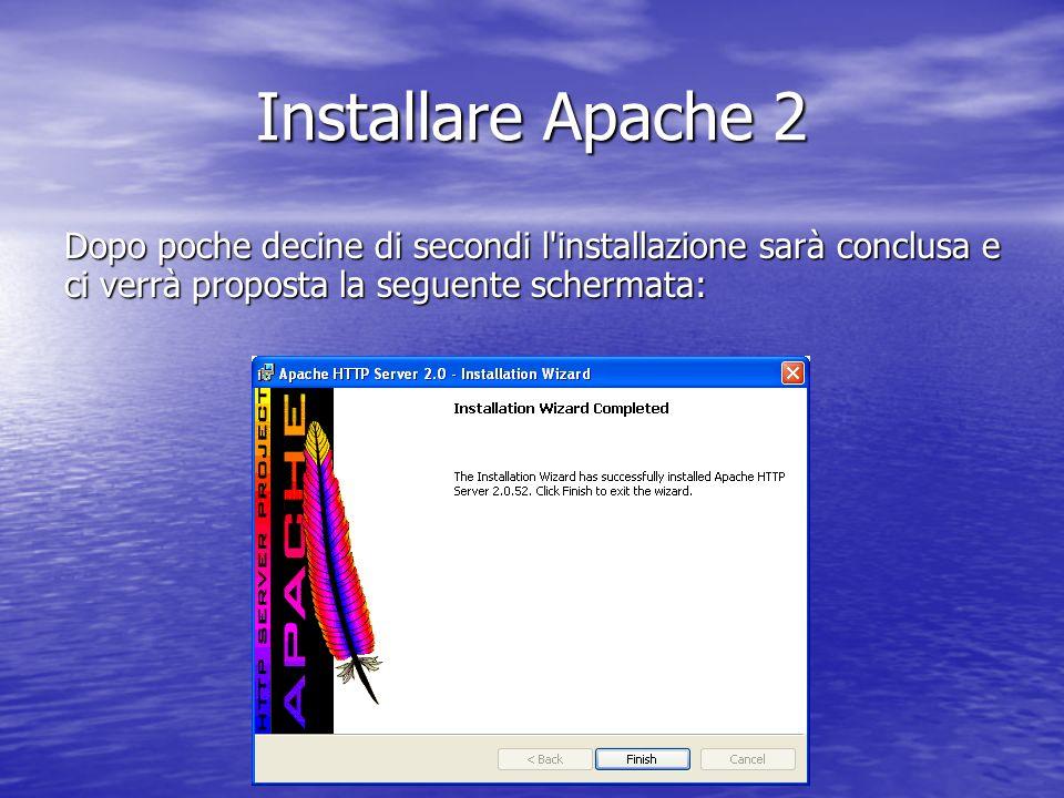 Dopo poche decine di secondi l'installazione sarà conclusa e ci verrà proposta la seguente schermata: Installare Apache 2