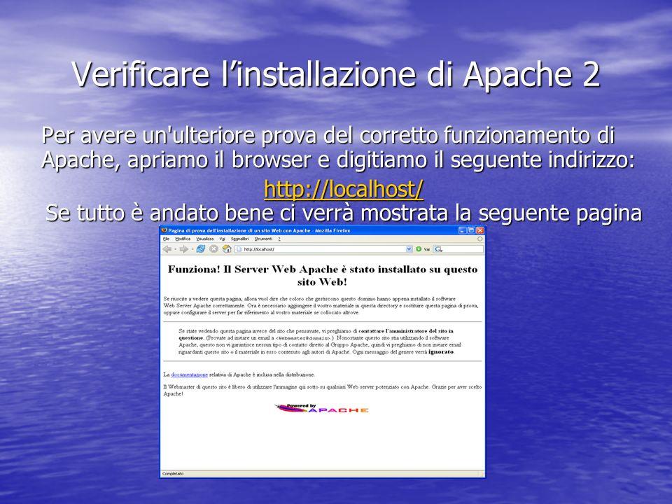 Per avere un'ulteriore prova del corretto funzionamento di Apache, apriamo il browser e digitiamo il seguente indirizzo: http://localhost/ http://loca