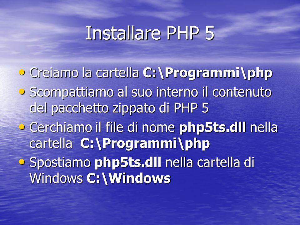 Installare PHP 5 Creiamo la cartella C:\Programmi\php Creiamo la cartella C:\Programmi\php Scompattiamo al suo interno il contenuto del pacchetto zipp