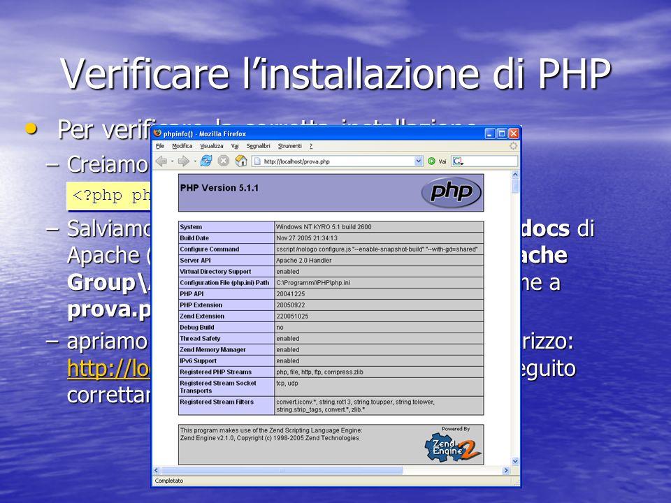 Verificare linstallazione di PHP –Creiamo il semplice script con notepad: –Salviamo il file appena creato nella cartella htdocs di Apache (nel nostro