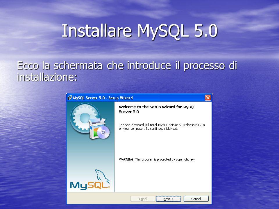 Ecco la schermata che introduce il processo di installazione: Installare MySQL 5.0