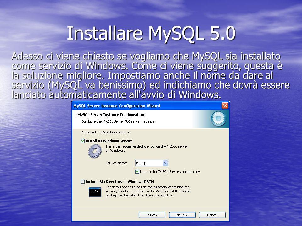 Adesso ci viene chiesto se vogliamo che MySQL sia installato come servizio di Windows. Come ci viene suggerito, questa è la soluzione migliore. Impost