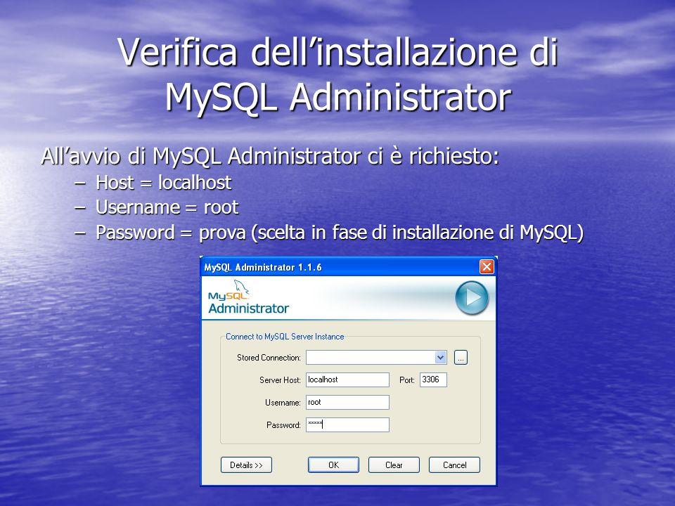 Allavvio di MySQL Administrator ci è richiesto: –Host = localhost –Username = root –Password = prova (scelta in fase di installazione di MySQL) Verifi