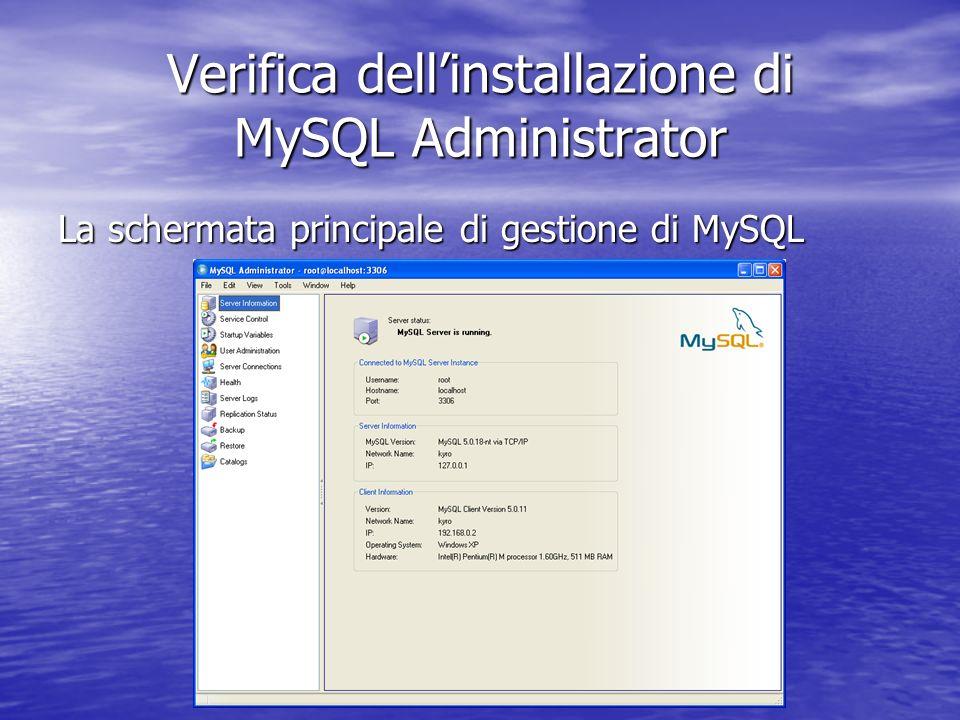 La schermata principale di gestione di MySQL Verifica dellinstallazione di MySQL Administrator