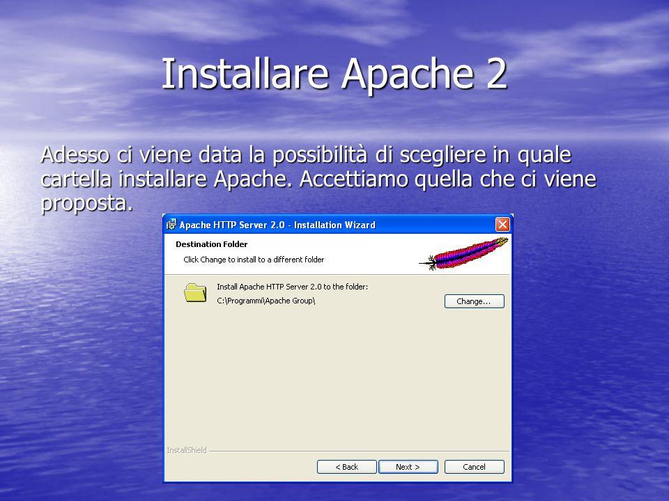 Adesso ci viene data la possibilità di scegliere in quale cartella installare Apache. Accettiamo quella che ci viene proposta. Installare Apache 2