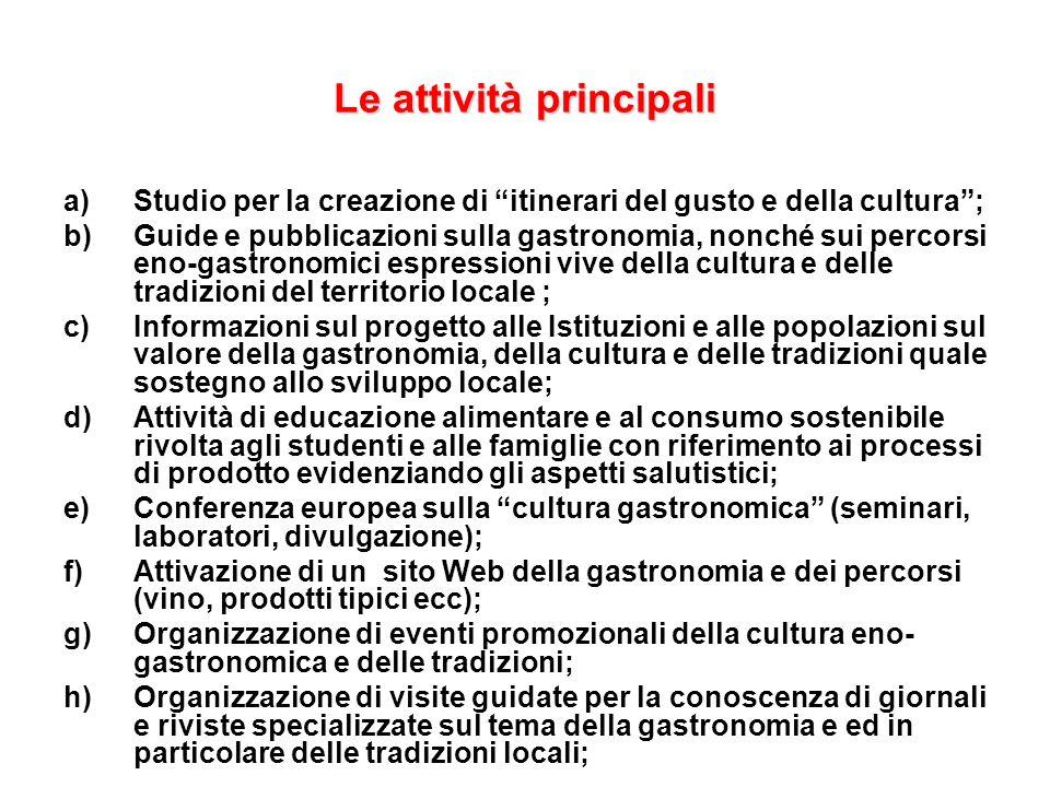 Le attività principali a)Studio per la creazione di itinerari del gusto e della cultura; b)Guide e pubblicazioni sulla gastronomia, nonché sui percors