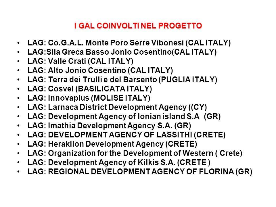 I GAL COINVOLTI NEL PROGETTO LAG: Co.G.A.L. Monte Poro Serre Vibonesi (CAL ITALY) LAG:Sila Greca Basso Jonio Cosentino(CAL ITALY) LAG: Valle Crati (CA